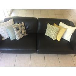Black leather sofa Roche Bobois