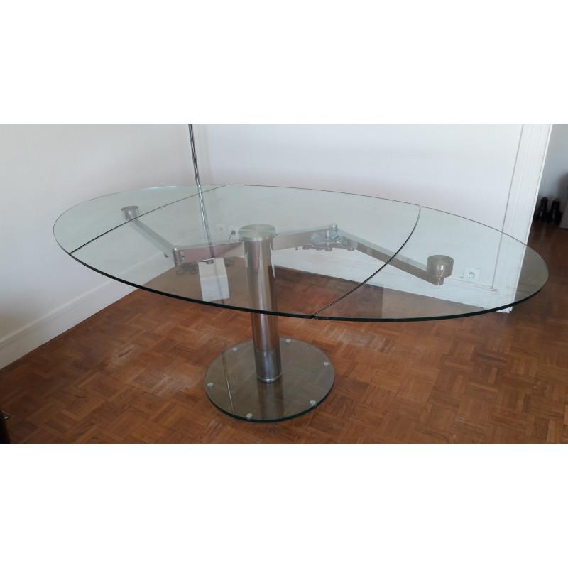 Table repas en verre trempé avec allonges