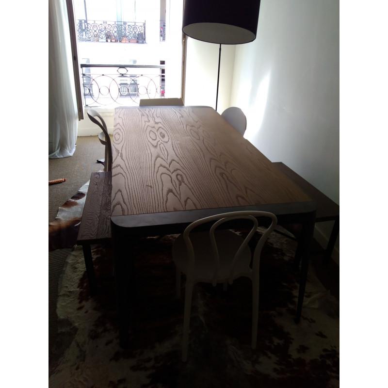 table de repas 8 10 personnes roche bobois avec 2 bancs