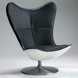 Fauteuil Glove en cuir noir design par Terence Conran