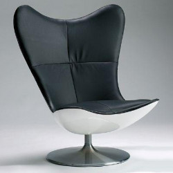 Glove black leather armchair designed by Terence Conran