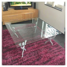Table basse en verre, style Pop-Art, inspirée par Keith Haring