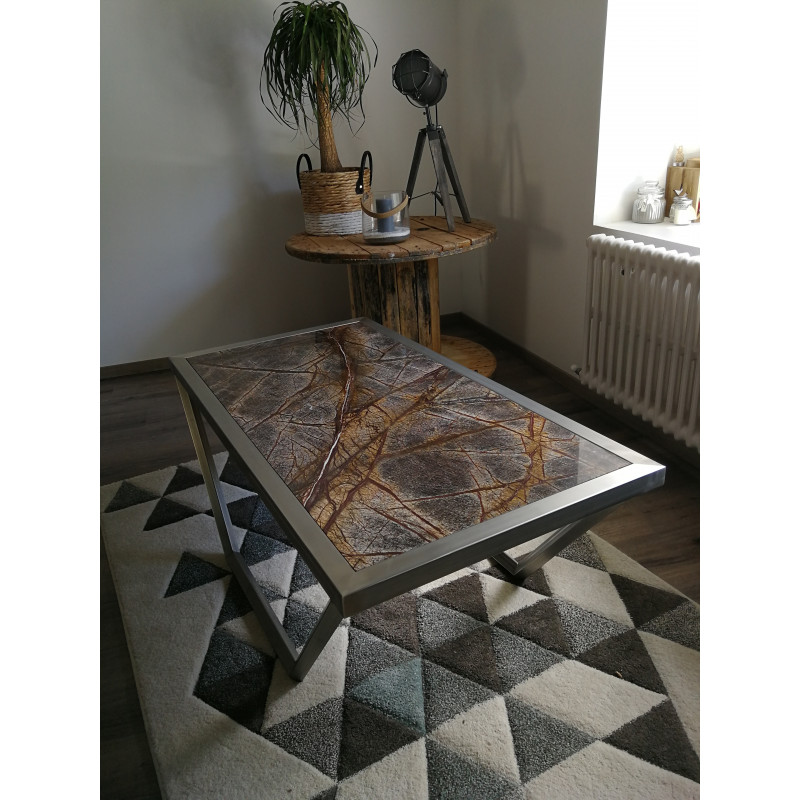 Table basse en inox et marbre