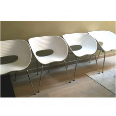 4 Tom Vac white chairs by Ron Arad for Vitra