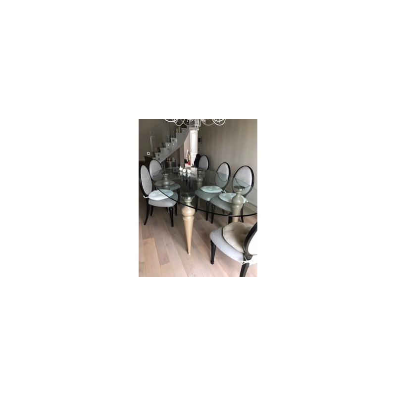 Table De Salle A Manger D Occasion Ovale En Verre Avec 8 Chaises Par Ego