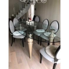 Table de salle à manger ovale en verre haute avec 8 chaises par Ego