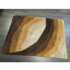 Shaggy Brown Wool Rug Design - 1970s