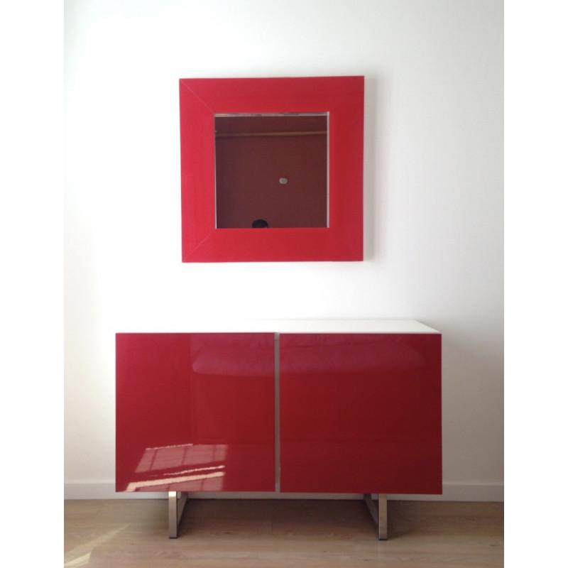 Buffet moderne laqué rouge et blanc- Calligaris