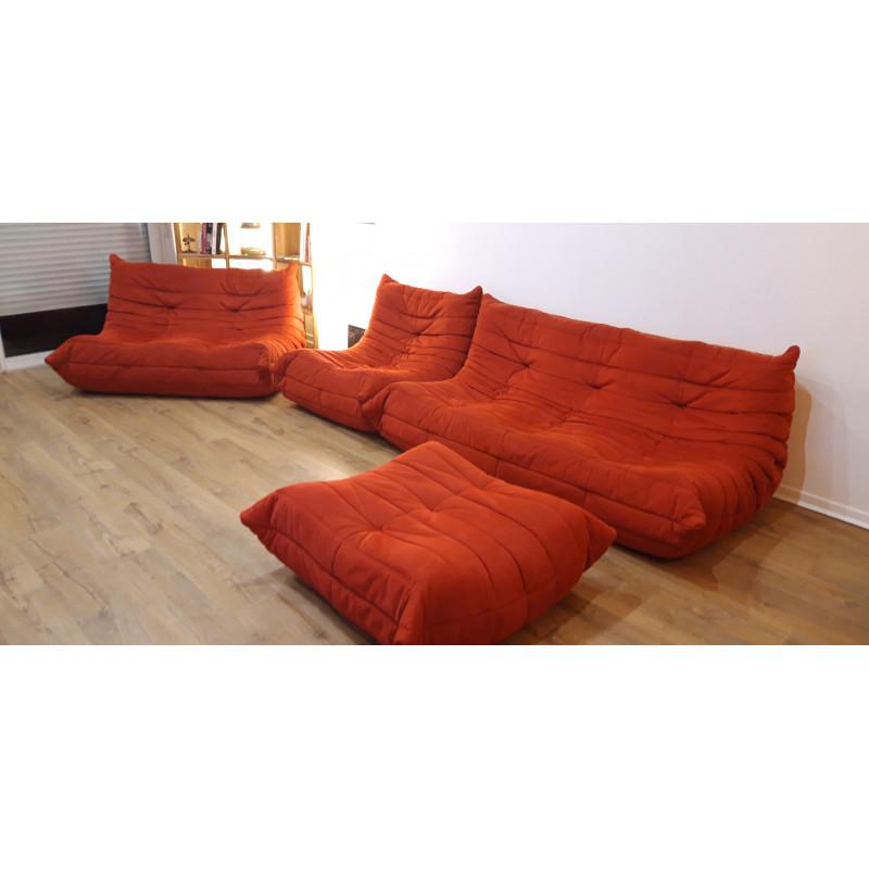 Togo living room set in red color by Ligne Roset