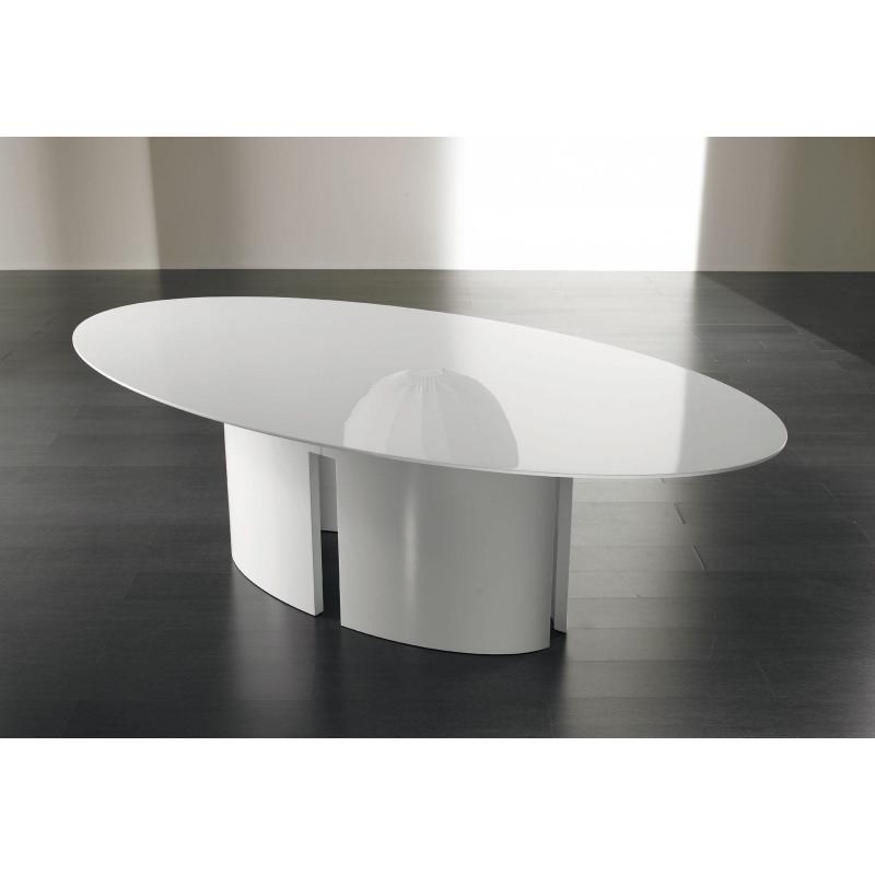Gong table à manger ovale en laque blanche de Meridiani