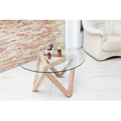 Alexandrie wood and glass coffee table