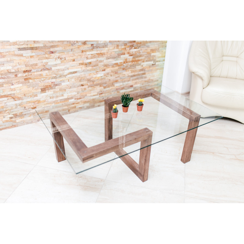 Gorgona wood and glass coffee table