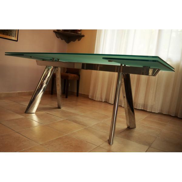 Table De Repas D Occasion En Verre Et Metal Chronos De Roche Bobois