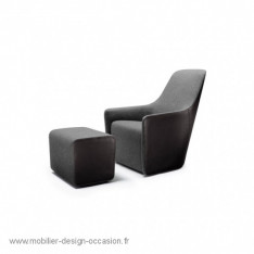 Foster 520 black leather armchair by Walter Knoll