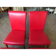 Lot 4 chaises en cuir et bois rouge Poltrona Frau