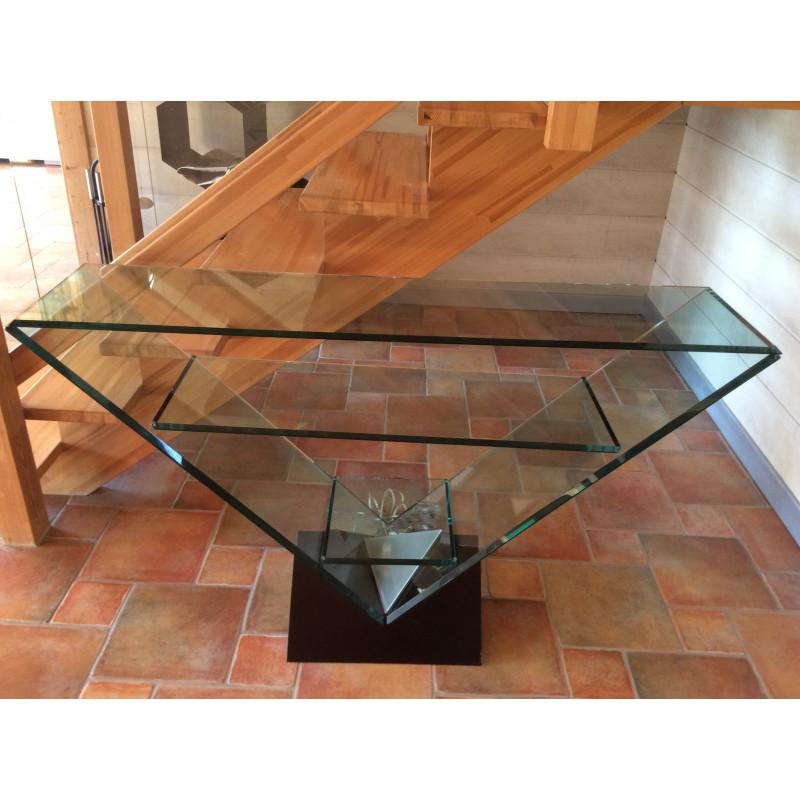 Roche Bobois glass console table