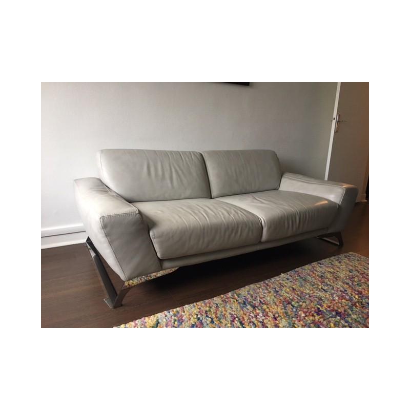 3-seater light gray sofa in calfskin leather -Roche Bobois