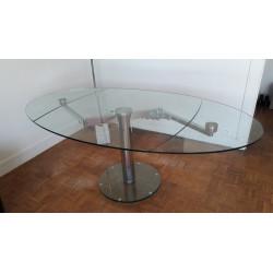 Table de salle à manger en verre trempé avec allonges