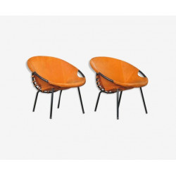 Pair of suede armchairs by Hans Olsen