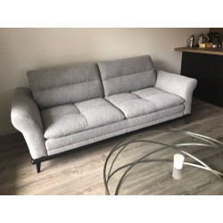 3- Seater light gray leather sofa by Cuir Center