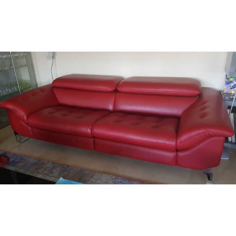 Roche Bobois electric red leather sofa