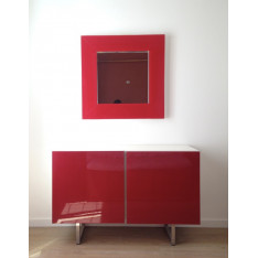 Modern red and white lacquered sideboard by Calligaris