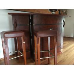 Tabouret de bar en bois et cuir par Starbay
