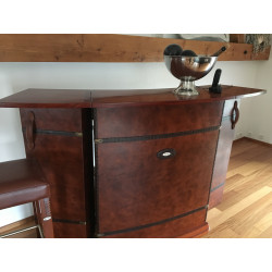 Bar with storages Rosewood finish and brown leather front by Starbay