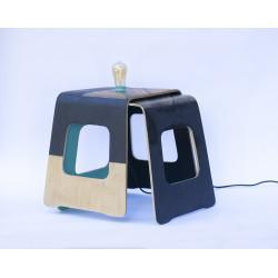 Lampe table en béton et bois de Patou