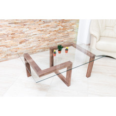 Table basse Gorgona en bois et verre