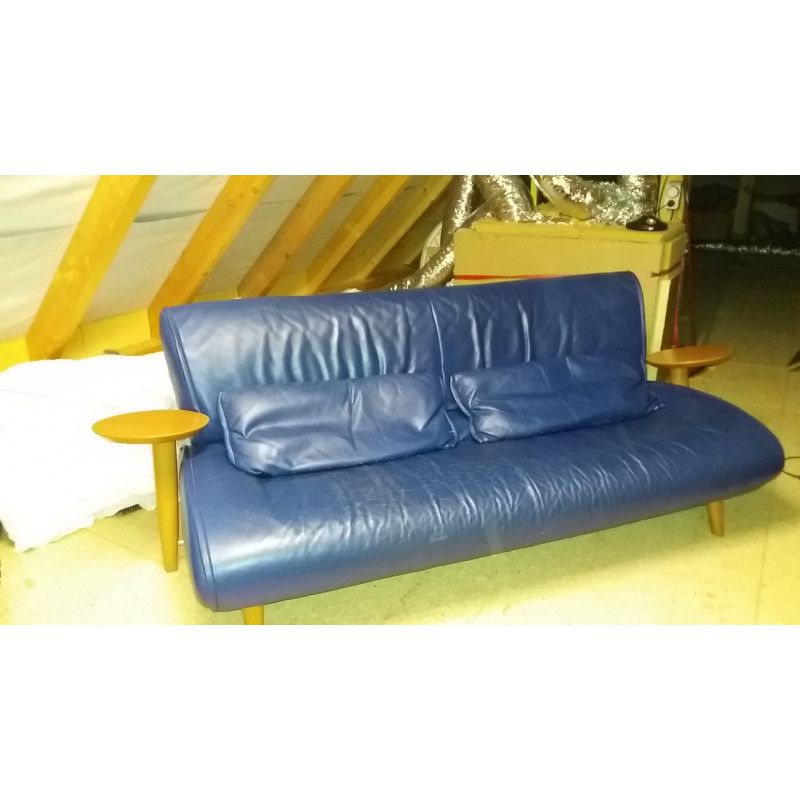 2/3- seater blue leather sofa by Bernard Masson for Steiner
