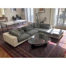 Canapé d'angle blanc et gris chiné de Roche Bobois