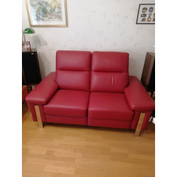 2-seater sofa in red leather by MB Salon
