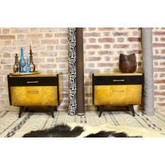 Paire de tables de chevet restaurée et relookée pied compas.