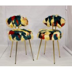 Chaises Pelfran années 60 tissu fourrure multicolore