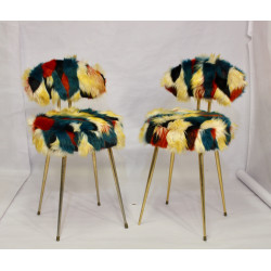 Chaises Pelfran années 60 tissu fourrure multicolores.