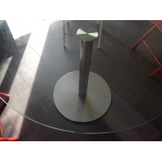 Table ronde plateau verre