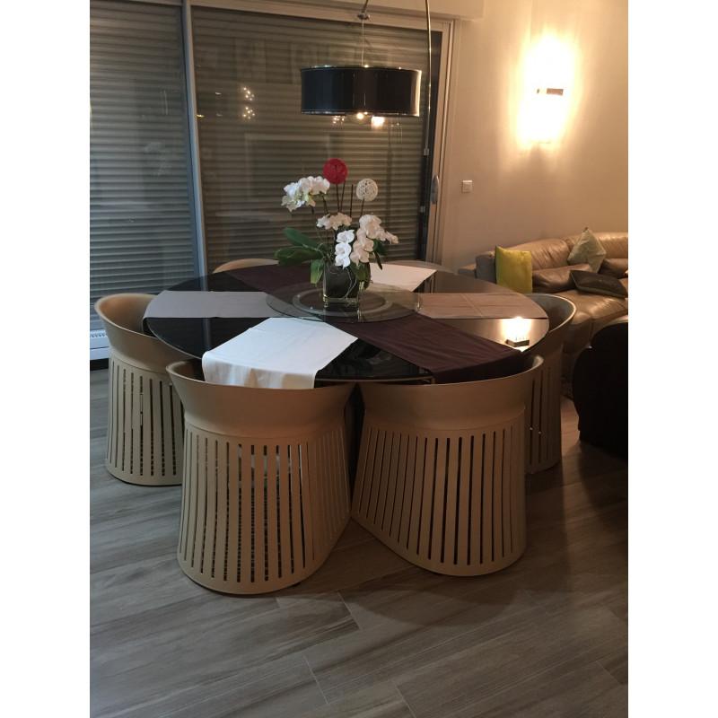 Ensemble table roche bobois cuir et verre avec fauteuils