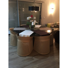 Leather and glass table set with armchairs