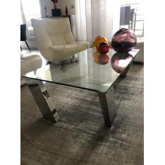table basse en verre, pieds chromés