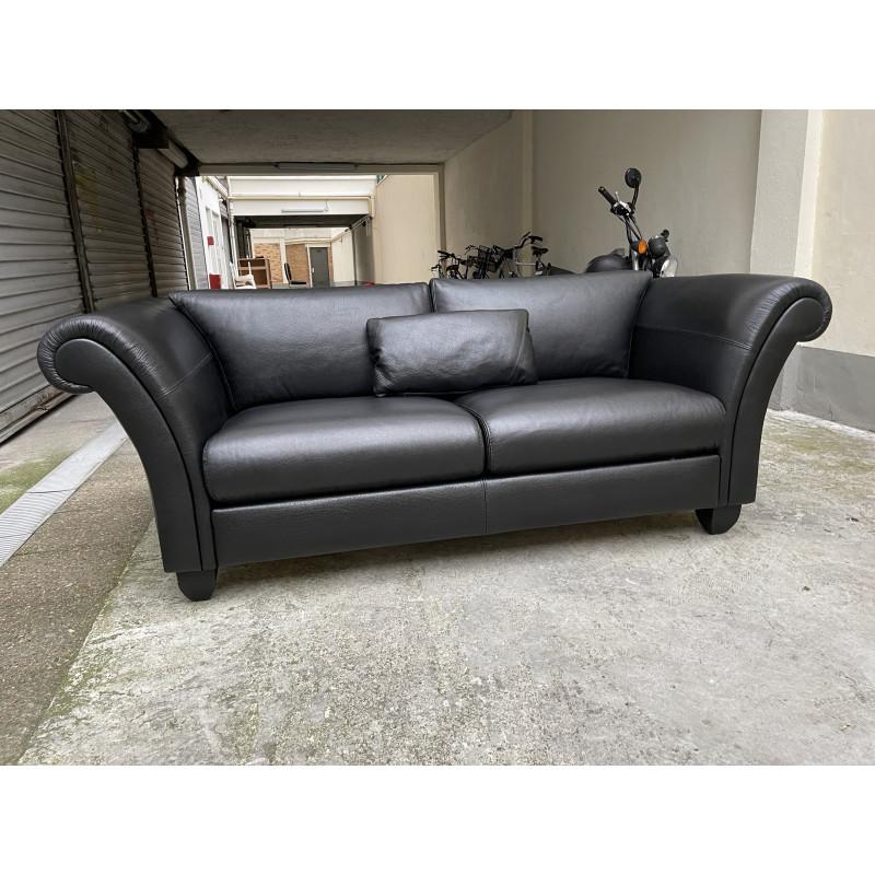 Canapé 2 places en cuir noir NEUF Romeo par Claude Dalle