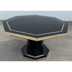 Table de salle à manger en laque noire et laiton