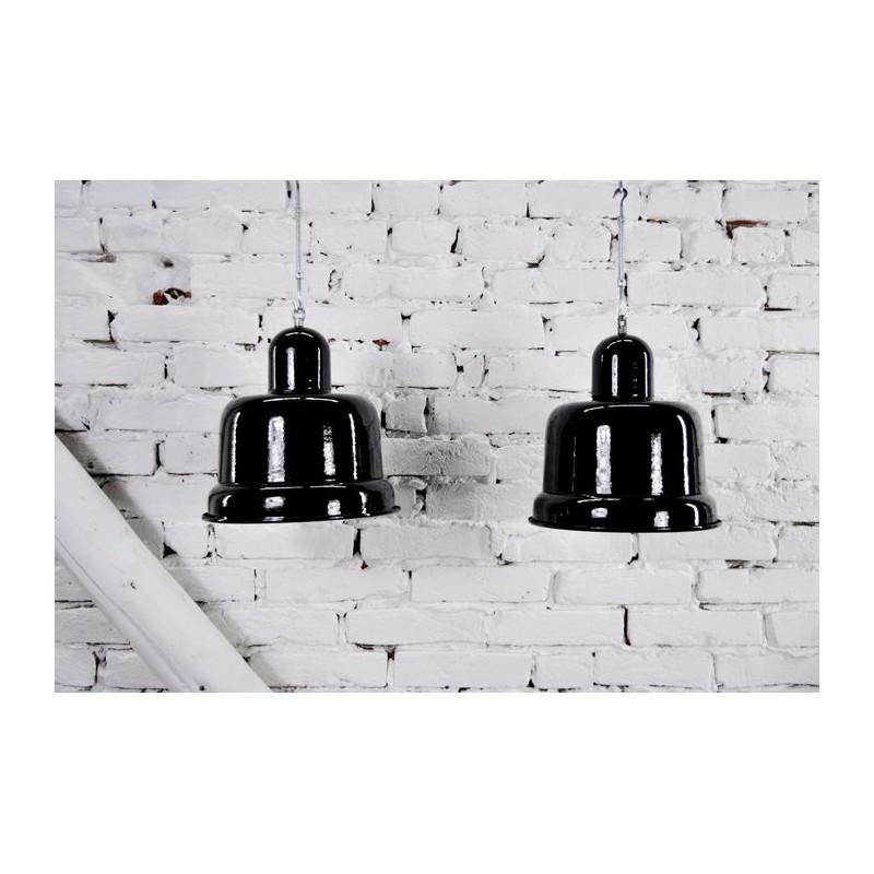 Lampe / suspension d'usine vintage en métal émaillé