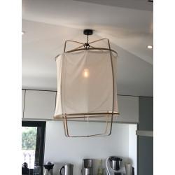 Suspension Ay Illuminate Z1 bambou et voile coton blanc