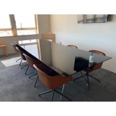 Table de réunion ARKITECK 8 personnes avec 8 sièges tapissé de cuir