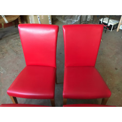 Set of 4 classic chairs in wood and red leather by Poltrona Frau.